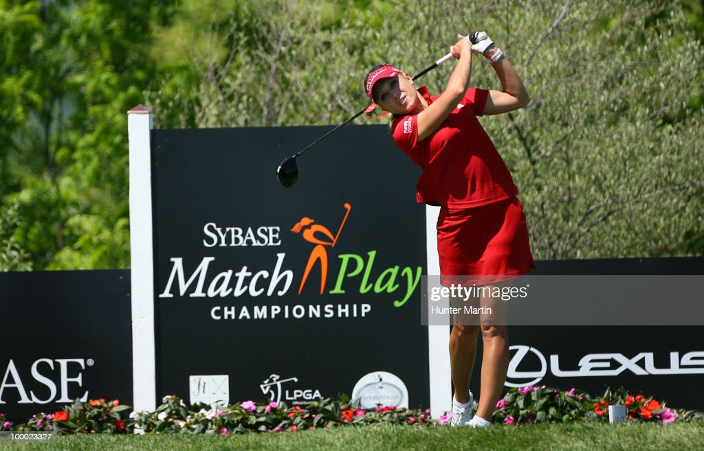 Natalie Gulbis hits her tee shot on the 14th hole during the first round of the Sybase Match Play Championship at Hamilton Farm Golf Club on May 20, 2010 in Gladstone, New Jersey.