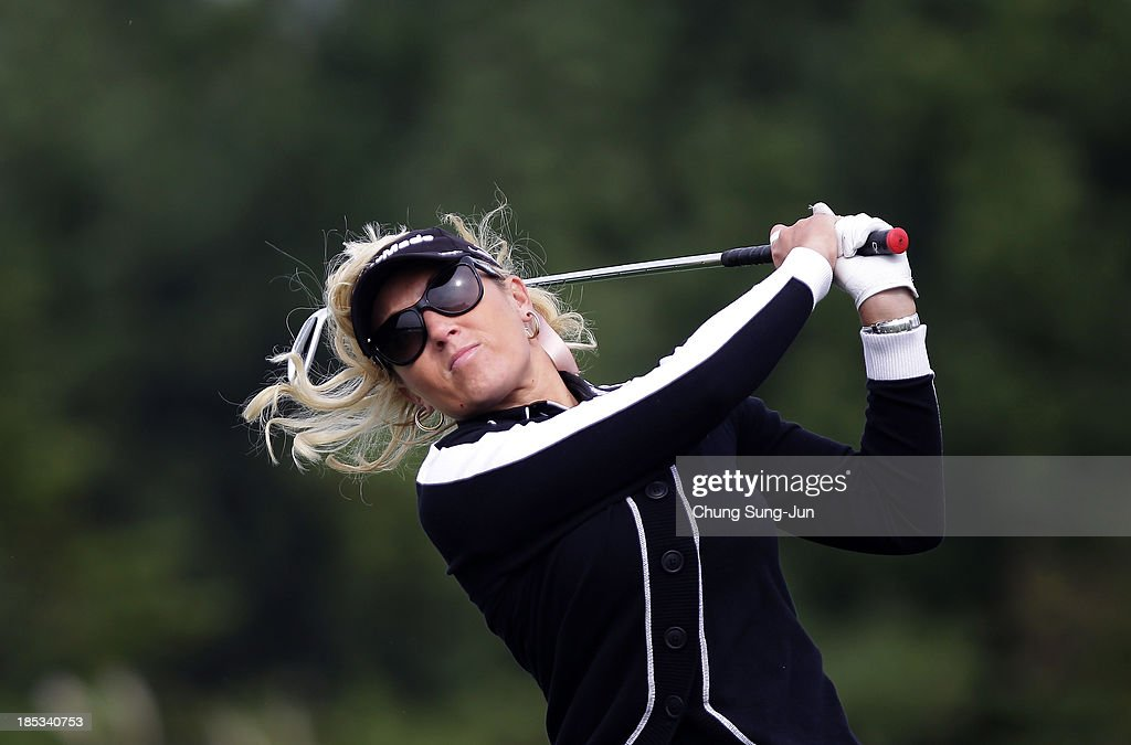 Natalie Gulbis of United States hits a tee shot during the second round of LPGA KEB-HanaBank Championship at Sky 72 Golf Club Ocean Course on October 19, 2013 in Incheon, South Korea.