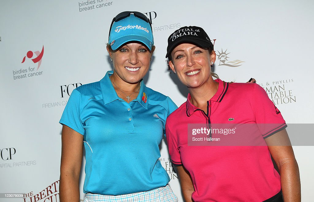 <a gi-track='captionPersonalityLinkClicked' href=/galleries/search?phrase=Natalie+Gulbis&family=editorial&specificpeople=179451 ng-click='$event.stopPropagation()'>Natalie Gulbis</a> (L) poses for a photo with event host <a gi-track='captionPersonalityLinkClicked' href=/galleries/search?phrase=Cristie+Kerr&family=editorial&specificpeople=213495 ng-click='$event.stopPropagation()'>Cristie Kerr</a> (R) prior to the start of the Birdies for Breast Cancer Foundation Liberty Cup at Liberty National Golf Club on August 30, 2011 in Jersey City, New Jersey.