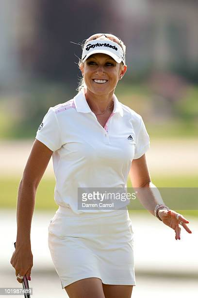 Natalie Gulbis smiles after making a birdie putt during the second round of the LPGA State Farm Classic at Panther Creek Country Club on June 11 2010...