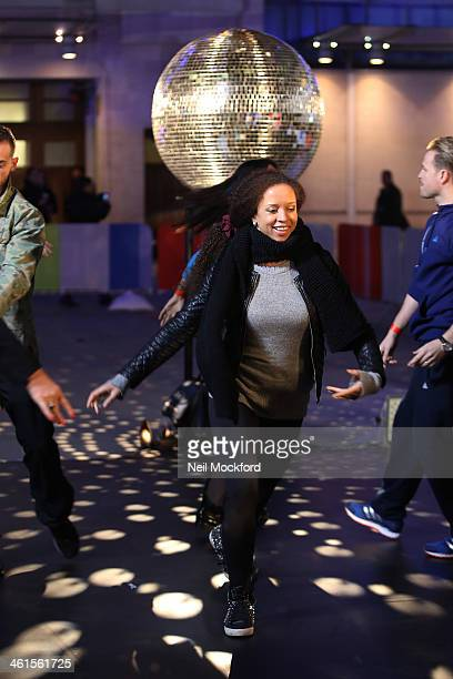 Natalie Gumede seen performing for the Strictly Come Dancing Tour at the BBC for The One Show on January 9 2014 in London England