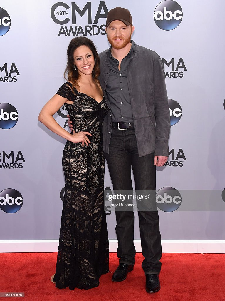 Natalie Harker and Eric Paslay attends the 48th annual CMA Awards at the Bridgestone Arena on November 5 2014 in Nashville Tennessee