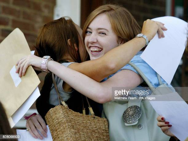 Natalie HarknessShaw celebrates her GCSE Exam results with Lettice Swan at Tonbridge Grammar School for Girls in Tonbridge Kent Thursday 25 August...