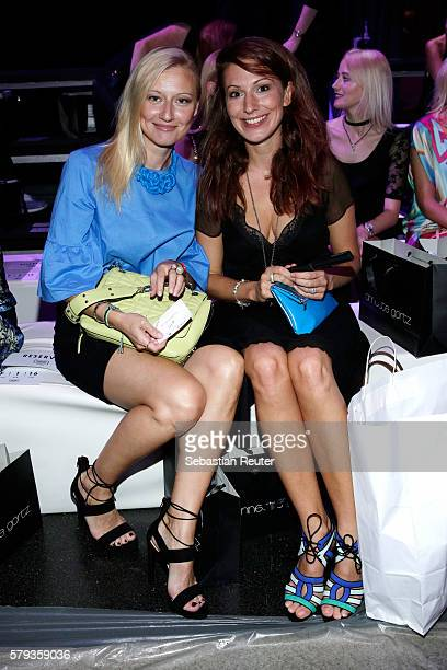 Natalie Hellmann and Mara Bergmann attend the Annette Goertz show during Platform Fashion July 2016 at Areal Boehler on July 23 2016 in Duesseldorf...