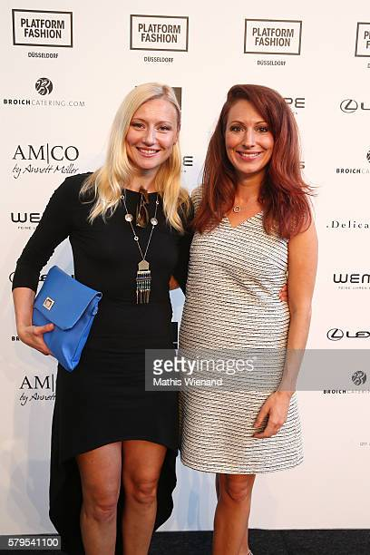 Natalie Hellmann and Mara Bergmann attend the Platform Fashion Selected show during Platform Fashion July 2016 at Areal Boehler on July 24 2016 in...