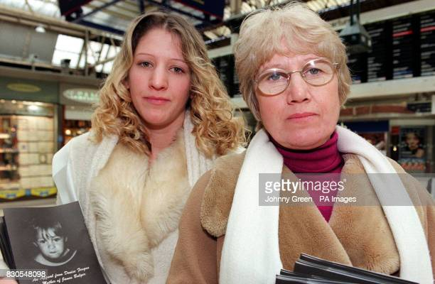 Natalie Hogg and Frances Hogg at Waterloo Station central London to support the Victims of Crime Trust Frances and Natalie sister and mother of...