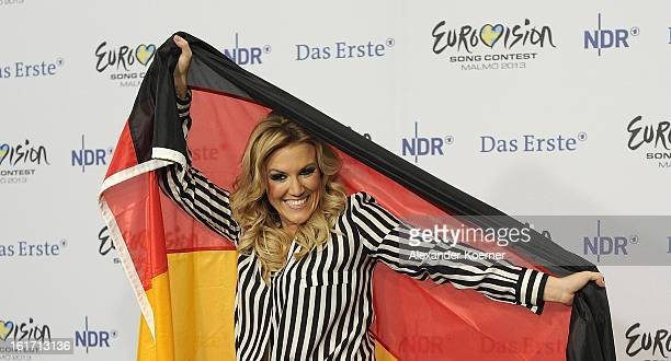 Natalie Horler of Cascada attends a photcall after her performance in the finals of 'Our Star For Malmoe' on February 14 2013 in Hanover Germany...