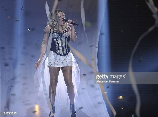 Natalie Horler of Cascada performs in the finals of 'Our Star For Malmoe' on February 14 2013 in Hanover Germany Cascada won 'Our Star For Malmoe' a...