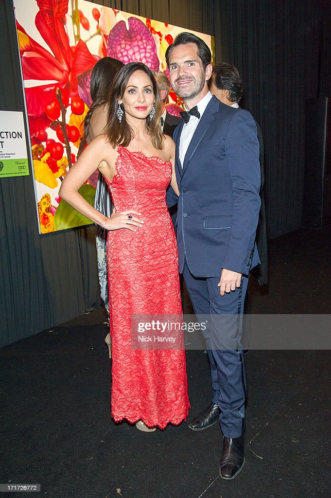 Natalie Imbruglia and Jimmy Carr attend the 15th Annual White Tie and Tiara Ball to Benefit Elton John AIDS Foundation in Association with Chopard at Woodside on June 27, 2013 in Windsor, England. No sales to online/digital media worldwide until the 14th of July. No sales before July 14th, 2013 in UK, Spain, Switzerland, Mexico, Dubai, Russia, Serbia, Bulgaria, Turkey, Argentina, Chile, Peru, Ecuador, Colombia, Venezuela, Puerto Rico, Dominican Republic, Greece, Canada, Thailand, Indonesia, Morocco, Malaysia, India, Pakistan, Nigeria. All pictures are for editorial use only and mention of 'Chopard' and 'The Elton John Aids Foundation' are compulsory. No sales ever to Ok, Now, Closer, Reveal, Heat, Look or Grazia magazines in the United Kingdom. No sales ever to any jewellers or watchmakers other than Chopard.