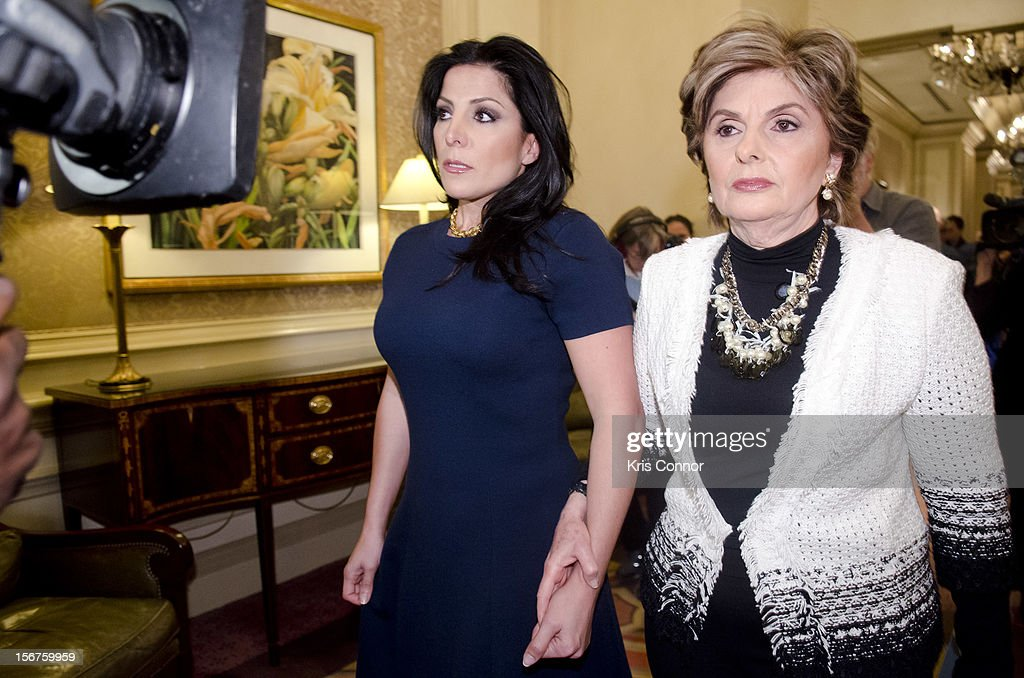 Natalie Khawam and <a gi-track='captionPersonalityLinkClicked' href=/galleries/search?phrase=Gloria+Allred&family=editorial&specificpeople=213999 ng-click='$event.stopPropagation()'>Gloria Allred</a> leaves the <a gi-track='captionPersonalityLinkClicked' href=/galleries/search?phrase=Gloria+Allred&family=editorial&specificpeople=213999 ng-click='$event.stopPropagation()'>Gloria Allred</a> News Conference With Natalie Khawam at Ritz-Carlton Hotel on November 20, 2012 in Washington, DC.