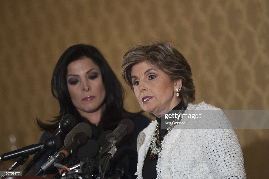 Natalie Khawam and Gloria Allred speak during the Gloria Allred News Conference With Natalie Khawam at Ritz-Carlton Hotel on November 20, 2012 in Washington, DC.