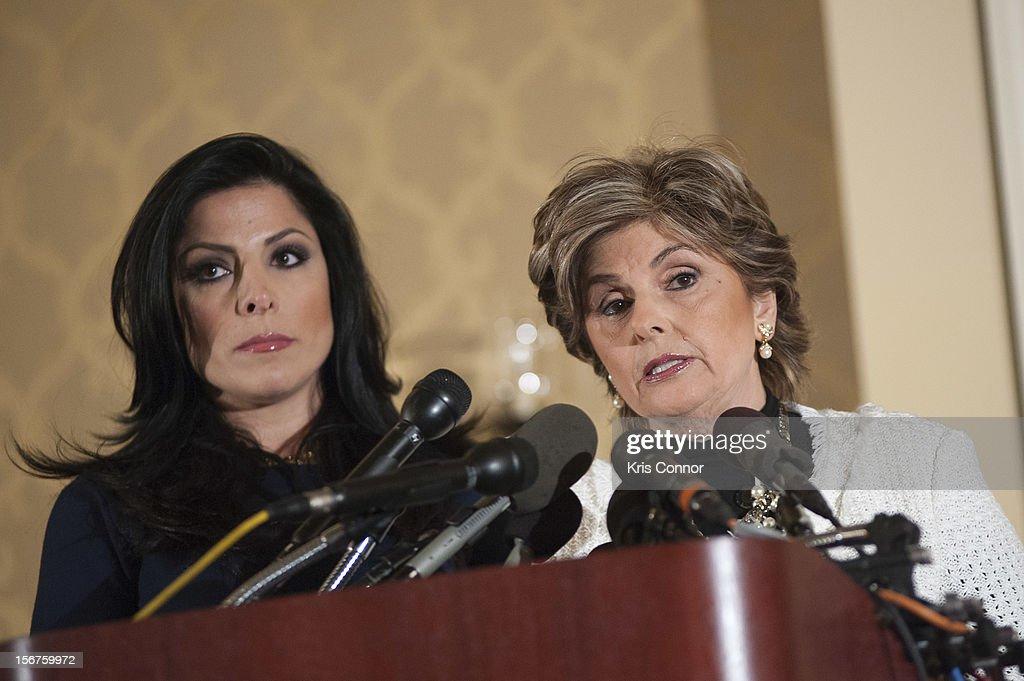 Natalie Khawam and Gloria Allred speaks during the Gloria Allred News Conference With Natalie Khawam at Ritz-Carlton Hotel on November 20, 2012 in Washington, DC.