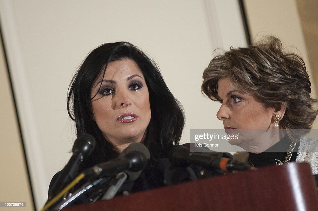 Natalie Khawam and <a gi-track='captionPersonalityLinkClicked' href=/galleries/search?phrase=Gloria+Allred&family=editorial&specificpeople=213999 ng-click='$event.stopPropagation()'>Gloria Allred</a> speaks during the <a gi-track='captionPersonalityLinkClicked' href=/galleries/search?phrase=Gloria+Allred&family=editorial&specificpeople=213999 ng-click='$event.stopPropagation()'>Gloria Allred</a> News Conference With Natalie Khawam at Ritz-Carlton Hotel on November 20, 2012 in Washington, DC.
