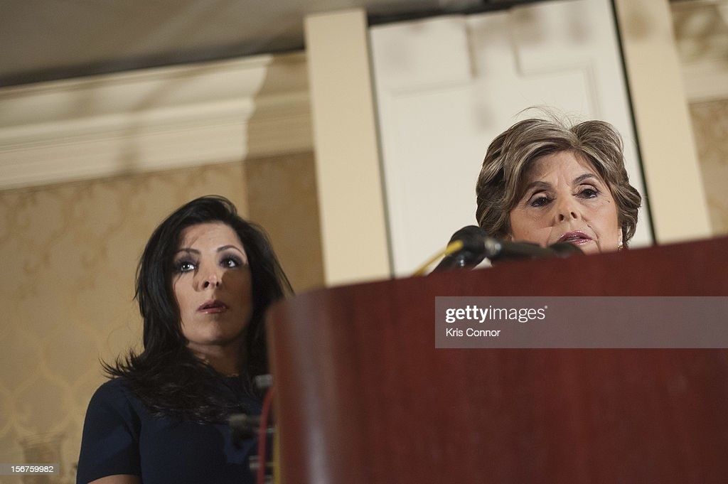 Natalie Khawam and Gloria Allred speaks during the Gloria Allred News Conference With Natalie Khawam at Ritz-Carlton Hotel on November 20, 2012 in Washington, DC.