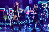 Natalie La Rose and Rafael Castillo aka De La Ghetto perform onstage during Telemundo's Latin American Music Awards at the Dolby Theatre on October 8...