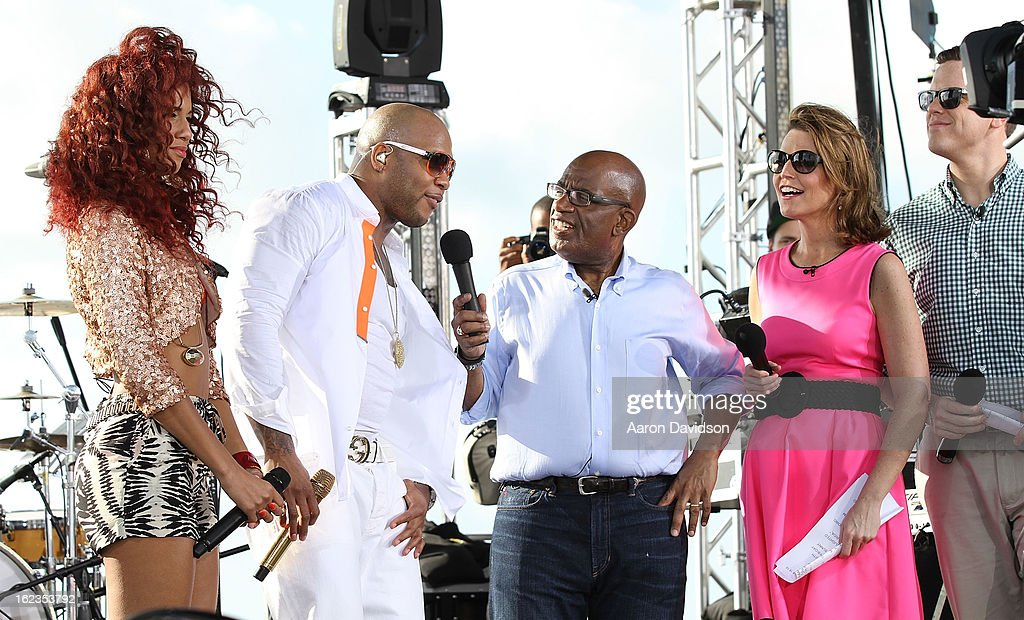 Natalie La Rose, Flo Rida, Al Rocker, and Savannah Guthrie at the Today Show during the South Beach Wine and Food Festival at Loews Miami Beach on February 22, 2013 in Miami Beach, Florida.