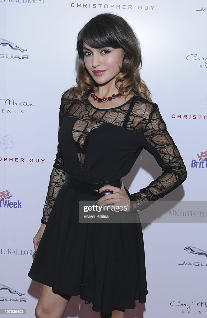 Natalie Loren attends British luxury furnishings designer Christopher Guy presents BritWeek design icon award to design director of Jaguar Ian Callum at Christopher Guy West Hollywood Showroom on April 26, 2013 in West Hollywood, California.