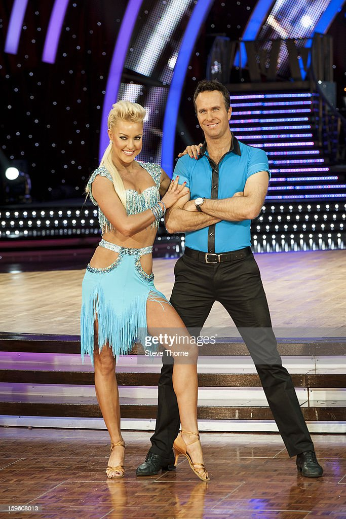Natalie Lowe and <a gi-track='captionPersonalityLinkClicked' href=/galleries/search?phrase=Michael+Vaughan&family=editorial&specificpeople=179446 ng-click='$event.stopPropagation()'>Michael Vaughan</a> attend a photocall ahead of the Strictly Come Dancing Live Tour at NIA Arena on January 17, 2013 in Birmingham, England.