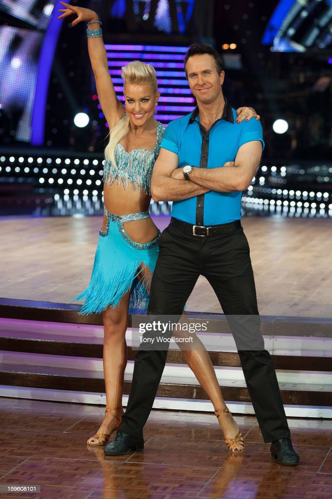 Natalie Lowe and <a gi-track='captionPersonalityLinkClicked' href=/galleries/search?phrase=Michael+Vaughan&family=editorial&specificpeople=179446 ng-click='$event.stopPropagation()'>Michael Vaughan</a> attends a photocall ahead of the Strictly Come Dancing Live Tour at NIA Arena on January 17, 2013 in Birmingham, England.