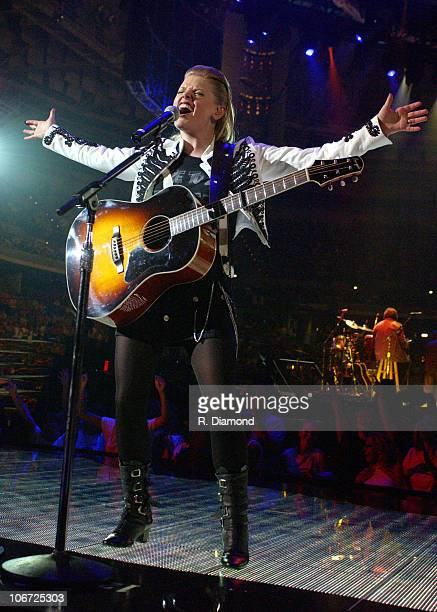 Natalie Maines of Dixie Chicks during Dixie Chicks 2003 US Tour Opening Night Show at BILO Center in Greenville South Carolina United States