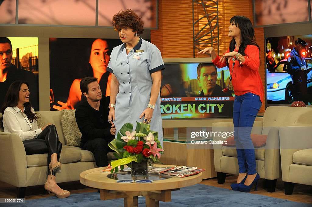 Natalie Martinez; Mark Wahlberg,Raul Gonzalez and Karla Martínez on The Set Of Despierta America to promote new film 'Broken City' at Univision Headquarters on January 10, 2013 in Miami, Florida.