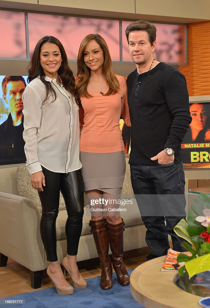 Natalie Martinez ,Satcha Pretto and Mark Wahlberg on The Set Of Despierta America to promote new film 'Broken City'>> at Univision Headquarters on January 10, 2013 in Miami, Florida.