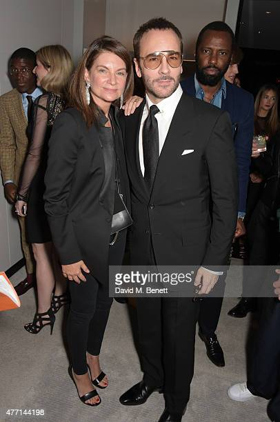 Natalie Massenet and Tom Ford attend a cocktail reception celebrating the Tom Ford Spring/Summer 2016 collection during London Collections Men at the...