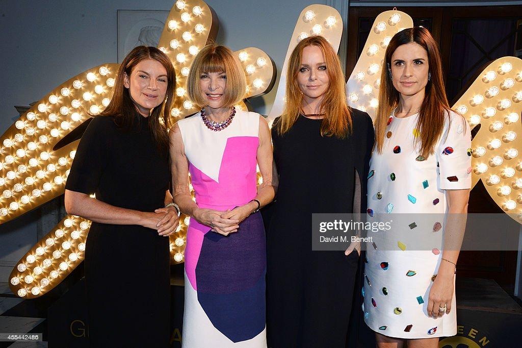 Natalie Massenet Anna Wintour Stella McCartney and Livia Firth attend The London 2014 Stella McCartney Green Carpet Collection during London Fashion...