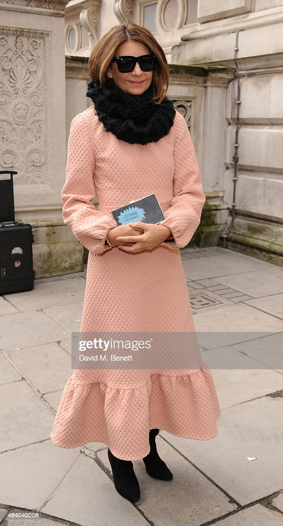 Natalie Massenet arrives at the Julien Macdonald show during London Fashion Week Fall/Winter 2015/16 at British Foreign and Commonwealth Office on...