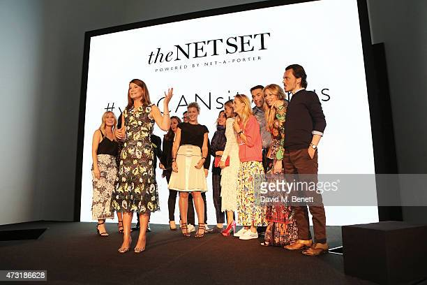 Natalie Massenet NetaPorter Founder speaks on stage in front of Alexandra Hoffnung Lucy Yeomans Erdem Moralioglu Sarah Watson Alice Temperley Laura...