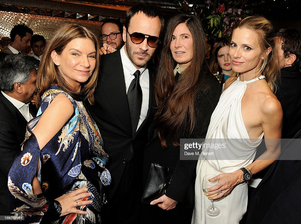 Natalie Massenet, Tom Ford, Elizabeth Saltzman and Laura Bailey attend a private dinner hosted by Tom Ford to celebrate his runway show during London Collections: MEN AW13 at Loulou's on January 9, 2013 in London, England.