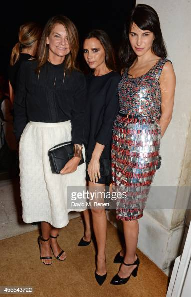 Natalie Massenet Victoria Beckham and Caroline Sieber attend as Ambassador Barzun Mrs Brooke Barzun and Alexandra Shulman celebrate London Fashion...