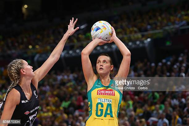 Natalie Medhurst of Australia in action against New Zealand during the 2015 Netball World Cup Gold Medal Match between Australia and New Zealand at...