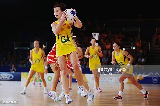 Natalie Medhurst of Australia looks to pass the ball out during the Preliminary Round Group B match between Australia and Wales at SECC Precinct...