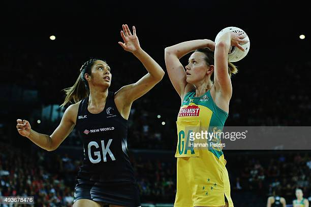 Natalie Medhurst of Australia shoots as Phoenix Karaka of the Silver Ferns defends during the International Netball Test Match between the New...