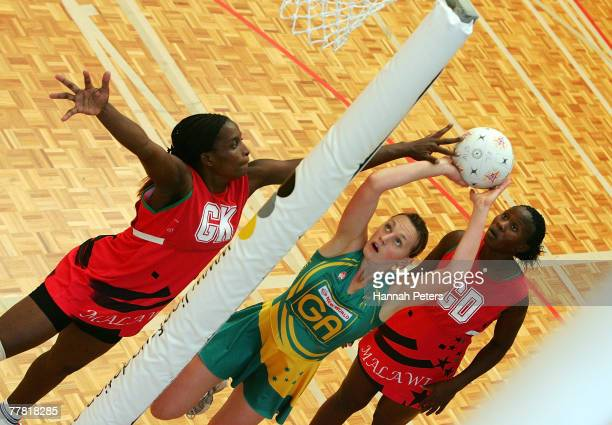 Natalie Medhurst of Australia shoots during a warm up match against Malawi held at the AUT Campus November 9 2007 in Auckland New Zealand The Netball...