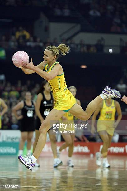 Natalie Medhurst of Australia wins the ball during the second Test Match between the Australian Diamonds and the New Zealand White Ferns at Adelaide...
