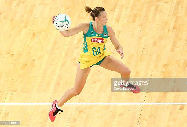Natalie Medhurst of the Diamonds competes for the ball during the International Test match between the Australia Diamonds and the New Zealand Silver...