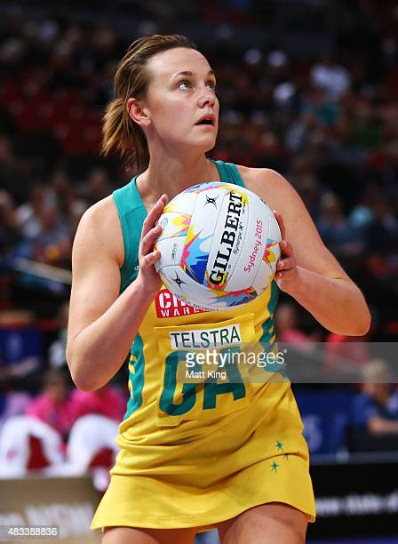 Natalie Medhurst of the Diamonds controls the ball during the 2015 Netball World Cup match between Australia and Barbados at Allphones Arena on...