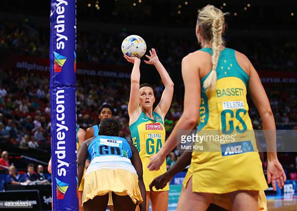 Natalie Medhurst of the Diamonds shoots during the 2015 Netball World Cup match between Australia and Barbados at Allphones Arena on August 8 2015 in...
