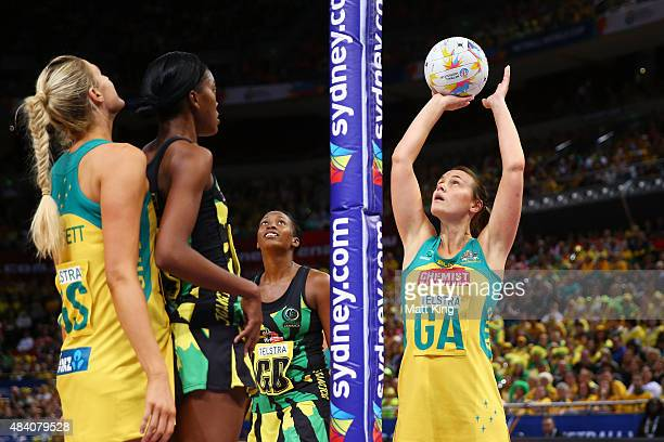 Natalie Medhurst of the Diamonds shoots during the 2015 Netball World Cup Semi Final 2 match between Australia and Jamaica at Allphones Arena on...