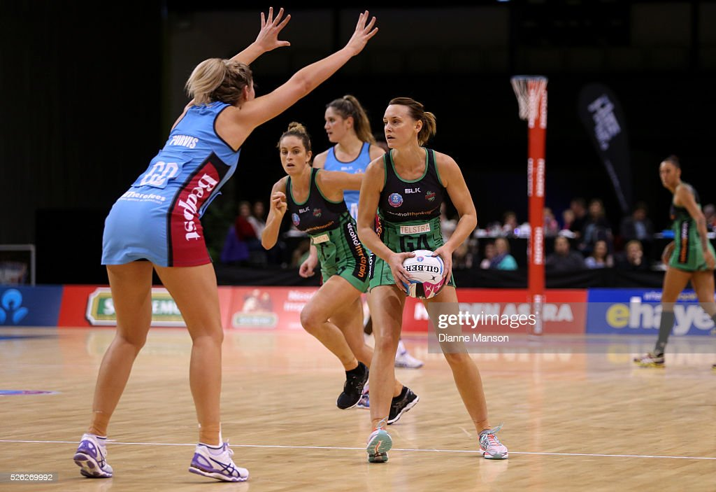Natalie Medhurst (R) of the Fever looks to pass the ball during the ANZ Championship match between the Steel and the Fever on April 30, 2016 in Invercargill, New Zealand.