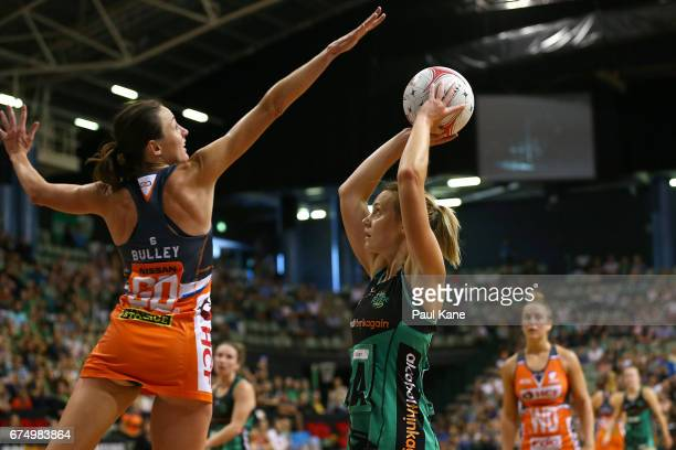 Natalie Medhurst of the Fever looks to shoot the ball during the round 10 Super Netball match between the Fever and the Giants at HBF Stadium on...