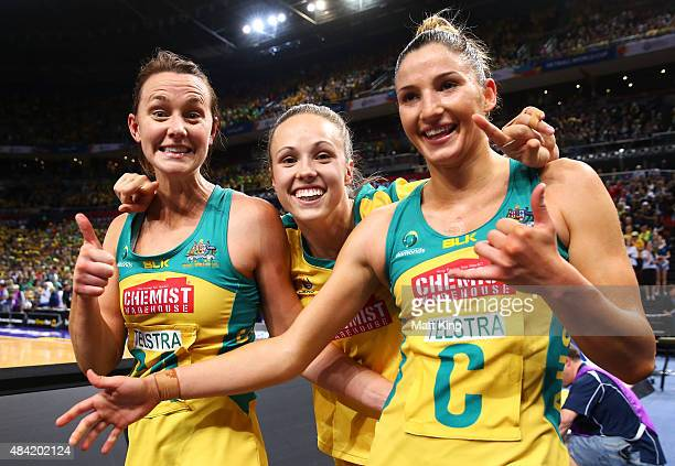 Natalie Medhurst Paige Hadley and Kim Ravaillion of the Diamonds celebrate victory in the 2015 Netball World Cup Gold Medal match between Australia...