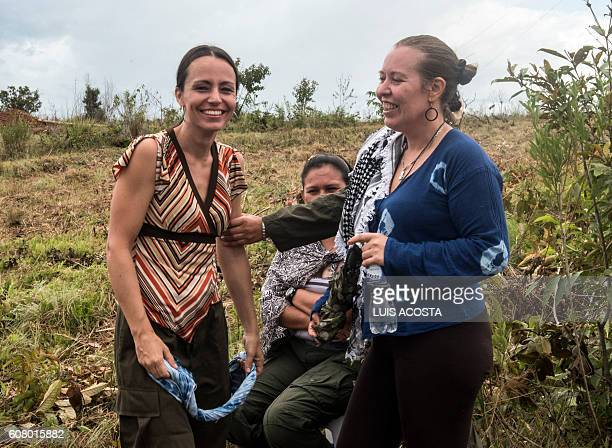 Natalie Mistral from France and Tanja Nijmeijer from Holland members of the Revolutionary Armed Forces of Colombia are seen during an interview whit...
