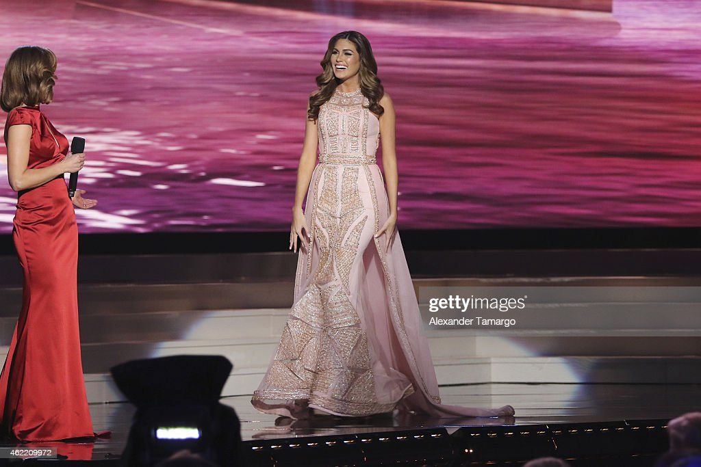 Natalie Morales and Miss Universe 2013 Gabriela Isler onstage during The 63rd Annual Miss Universe Pageant at Florida International University on...