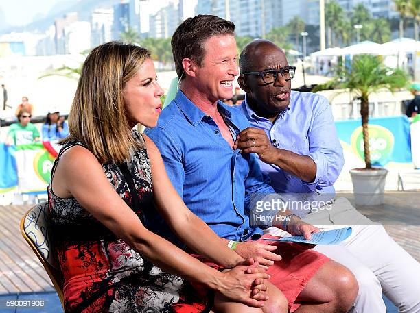 Natalie Morales Billy Bush and Al Roker joke on the Today show set on Copacabana Beach on August 16 2016 in Rio de Janeiro Brazil