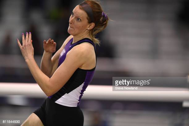 Natalie O'Keefe of Southwest Baptist competes in the women's high jump during the Division II Men's and Women's Indoor Track Field Championship held...