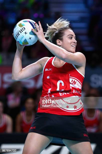 Natalie Panagarry of England gathers the ball during the Fast5 World Series Netball match between Jamaica and England at Hisense Arena on October 29...