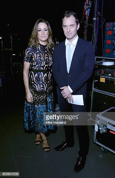 Natalie Pinkham and Jude Law backstage at the SeriousFun Children's Network London Gala 2016 at The Roundhouse on November 3 2016 in London England